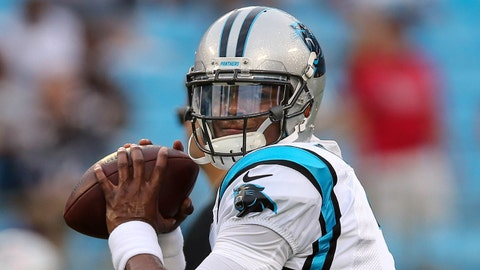 Aug 26, 2016; Charlotte, NC, USA;  Carolina Panthers quarterback Cam Newton (1) warms up prior to the game against the New England Patriots at Bank of America Stadium. Mandatory Credit: Jim Dedmon-USA TODAY Sports