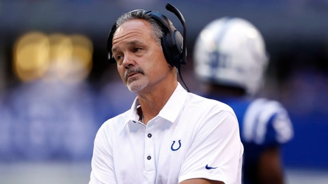 Aug 31, 2017; Indianapolis, IN, USA; Indianapolis Colts coach Chuck Pagano coaches on the sidelines against the Cincinnati Bengals at Lucas Oil Stadium. Mandatory Credit: Brian Spurlock-USA TODAY Sports