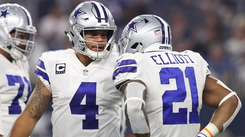 Sep 10, 2017; Arlington, TX, USA; Dallas Cowboys quarterback Dak Prescott talks with running back Ezekiel Elliott (21) in the huddle in the third quarter against the New York Giants at AT&T Stadium. Mandatory Credit: Matthew Emmons-USA TODAY Sports