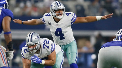 Sep 10, 2017; Arlington, TX, USA; Dallas Cowboys quarterback Dak Prescott (4) calls a play in the game against the New York Giants at AT&T Stadium. Mandatory Credit: Tim Heitman-USA TODAY Sports