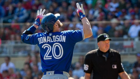 Sep 17, 2017; Minneapolis, MN, USA; Toronto Blue Jays third baseman Josh Donaldson (20) celebrates his home run in the first inning against the Minnesota Twins at Target Field. Mandatory Credit: Brad Rempel-USA TODAY Sports