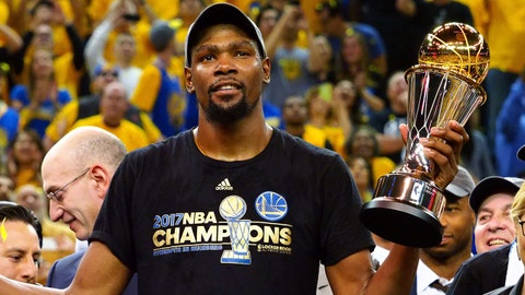 Jun 12, 2017; Oakland, CA, USA; Golden State Warriors forward Kevin Durant (35) celebrates after winning the NBA Fianls MVP in game five of the 2017 NBA Finals at Oracle Arena. Mandatory Credit: Kelley L Cox-USA TODAY Sports