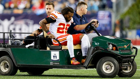 Sep 7, 2017; Foxborough, MA, USA; Kansas City Chiefs cornerback Eric Berry (25)) is carted off of the field after an injury in the fourth quarter at Gillette Stadium. Mandatory Credit: Greg M. Cooper-USA TODAY Sports