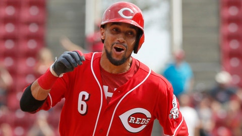 Sep 4, 2017; Cincinnati, OH, USA; Cincinnati Reds center fielder Billy Hamilton reacts as he runs the bases after hitting a game winning solo home run against the Milwaukee Brewers in the ninth inning at Great American Ball Park. Mandatory Credit: David Kohl-USA TODAY Sports