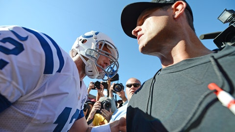 September 22, 2013; San Francisco, CA, USA; Indianapolis Colts quarterback Andrew Luck (12) shakes hands with San Francisco 49ers head coach Jim Harbaugh (right) after the game at Candlestick Park. The Colts defeated the 49ers 27-7. Mandatory Credit: Kyle Terada-USA TODAY Sports