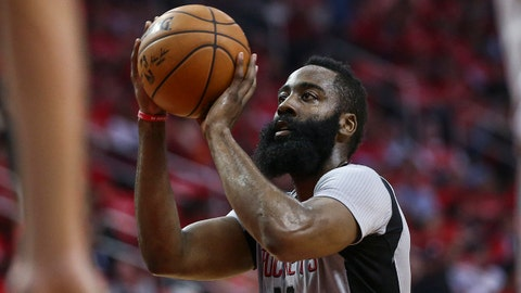 May 11, 2017; Houston, TX, USA; Houston Rockets guard James Harden (13) attempts a free throw during the second quarter against the San Antonio Spurs in game six of the second round of the 2017 NBA Playoffs at Toyota Center. Mandatory Credit: Troy Taormina-USA TODAY Sports