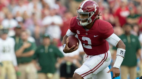 Sep 16, 2017; Tuscaloosa, AL, USA; Alabama Crimson Tide quarterback Jalen Hurts (2) carries the ball against Colorado State Rams during the first quarter at Bryant-Denny Stadium. Mandatory Credit: Marvin Gentry-USA TODAY Sports