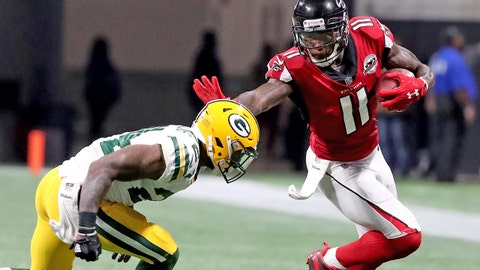 Sep 17, 2017; Atlanta, GA, USA; Green Bay Packers cornerback Quinten Rollins (24) gives up a catch to Atlanta Falcons wide receiver Julio Jones (11) in a NFL game Mercedes-Benz Stadium. Mandatory Credit: Jim Matthews/Green Bay Press Gazette via USA TODAY Sports