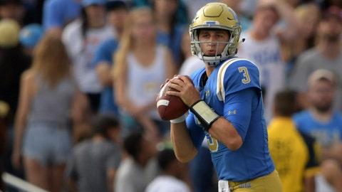 Sep 3, 2017; Pasadena, CA, USA; UCLA Bruins quarterback Josh Rosen (3) throws a pass against the Texas A&M Aggies during a NCAA football game at Rose Bowl. Mandatory Credit: Kirby Lee-USA TODAY Sports