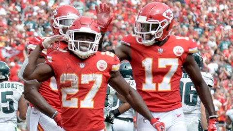 Sep 17, 2017; Kansas City, MO, USA; Kansas City Chiefs running back Kareem Hunt (27) celebrates after scoring during the second half against the Philadelphia Eagles at Arrowhead Stadium. Mandatory Credit: Denny Medley-USA TODAY Sports