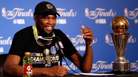Jun 12, 2017; Oakland, CA, USA; Golden State Warriors forward Kevin Durant at a press conference after game five of the 2017 NBA Finals against the Cleveland Cavaliers at Oracle Arena. Mandatory Credit: Cary Edmondson-USA TODAY Sports