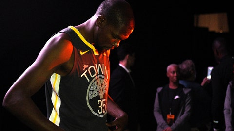Sep 15, 2017; Culver City, CA, USA; Golden State Warriors forward Kevin Durant stands as he shows off the new jerseys during the Nike and Sony press conference at Sony Studios. Mandatory Credit: Kelvin Kuo-USA TODAY Sports