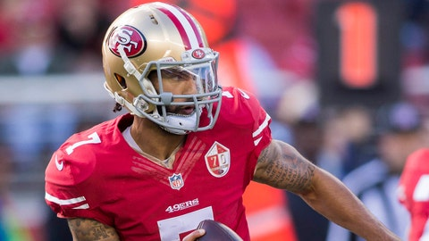Jan 1, 2017; Santa Clara, CA, USA; San Francisco 49ers quarterback Colin Kaepernick (7) prepares to pass the football against the Seattle Seahawks during the first quarter at Levis Stadium. Mandatory Credit: Neville E. Guard-USA TODAY Sports