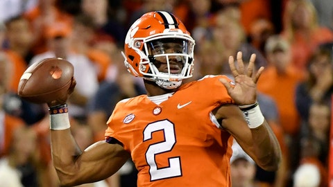 CLEMSON, SC - SEPTEMBER 09:  Quarterback Kelly Bryant #2 of the Clemson Tigers makes a pass during the Tigers' football game against the Auburn Tigers at Memorial Stadium on September 9, 2017 in Clemson, South Carolina. (Photo by Mike Comer/Getty Images)