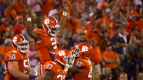 Sep 9, 2017; Clemson, SC, USA; Clemson Tigers quarterback Kelly Bryant (2) celebrates with teammates after scoring a touchdown during the third quarter against the Auburn Tigers at Clemson Memorial Stadium. Mandatory Credit: Joshua S. Kelly-USA TODAY Sports