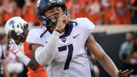 Sep 23, 2017; Stillwater, OK, USA; TCU Horned Frogs quarterback Kenny Hill (7) reacts after a touchdown during the second half against the Oklahoma State Cowboys at Boone Pickens Stadium. Mandatory Credit: Rob Ferguson-USA TODAY Sports