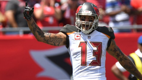 Sep 17, 2017; Tampa, FL, USA; Tampa Bay Buccaneers wide receiver Mike Evans (13) celebrates a touchdown pass in the first quarter against the Chicago Bears  at Raymond James Stadium. Mandatory Credit: Jonathan Dyer-USA TODAY Sports