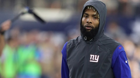 Sep 10, 2017; Arlington, TX, USA; New York Giants injured receiver Odell Beckham Jr. (13) on the field prior to the game against the Dallas Cowboys at AT&T Stadium. Mandatory Credit: Matthew Emmons-USA TODAY Sports