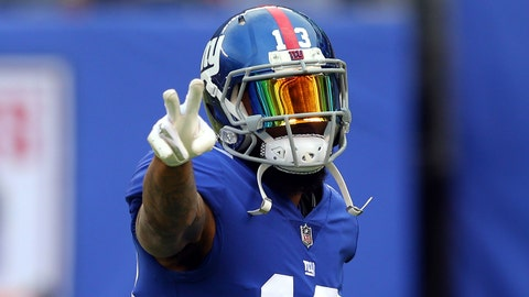 Aug 11, 2017; East Rutherford, NJ, USA; New York Giants wide receiver Odell Beckham Jr. (13) acknowledges fans before a preseason game against the Pittsburgh Steelers at MetLife Stadium. Mandatory Credit: Brad Penner-USA TODAY Sports