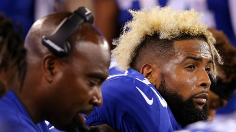Sep 18, 2017; East Rutherford, NJ, USA; New York Giants wide receiver Odell Beckham Jr. (13) reacts on the bench during the fourth quarter against the Detroit Lions at MetLife Stadium. Mandatory Credit: Brad Penner-USA TODAY Sports