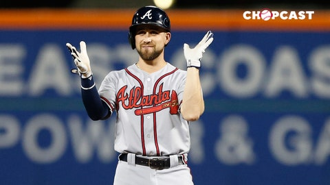 Sep 26, 2017; New York City, NY, USA; Atlanta Braves center fielder Ender Inciarte (11) reacts after a lead off double in the first inning against the New York Mets at Citi Field. Mandatory Credit: Noah K. Murray-USA TODAY Sports