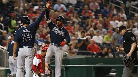 Sep 14, 2017; Washington, DC, USA; Atlanta Braves second baseman Ozzie Albies (1) celebrates with Braves third baseman Rio Ruiz (14) after hitting a two run home run against the Washington Nationals in the sixth inning at Nationals Park. The Nationals won 5-3. Mandatory Credit: Geoff Burke-USA TODAY Sports