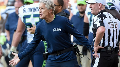 Sep 10, 2017; Green Bay, WI, USA;  Seattle Seahawks head coach Pete Carroll reacts during the game against the Green Bay Packers at Lambeau Field. Mandatory Credit: Benny Sieu-USA TODAY Sports