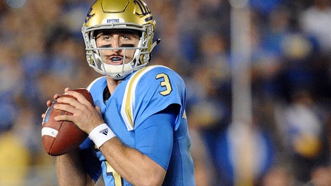 October 1, 2016; Pasadena, CA, USA;  UCLA Bruins quarterback Josh Rosen (3) looks for a receiver to pass to against the Arizona Wildcats during the second half at Rose Bowl. Mandatory Credit: Gary A. Vasquez-USA TODAY Sports