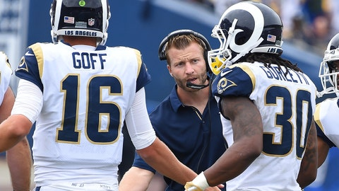 Sep 17, 2017; Los Angeles, CA, USA; Los Angeles Rams head coach Sean McVay congratulates quarterback Jared Goff (16) and Los Angeles Rams running back Todd Gurley (30) after a touchdown in the second half of the game at the Los Angeles Memorial Coliseum. Mandatory Credit: Jayne Kamin-Oncea-USA TODAY Sports