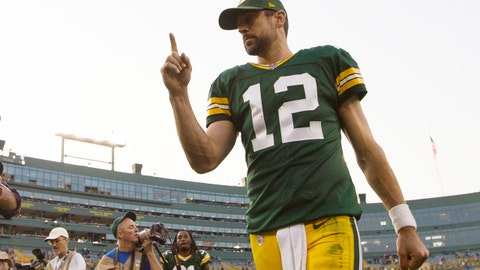 Sep 10, 2017; Green Bay, WI, USA; Green Bay Packers quarterback Aaron Rodgers (12) celebrates as he walks off the field following the game against the Seattle Seahawks at Lambeau Field. Mandatory Credit: Jeff Hanisch-USA TODAY Sports