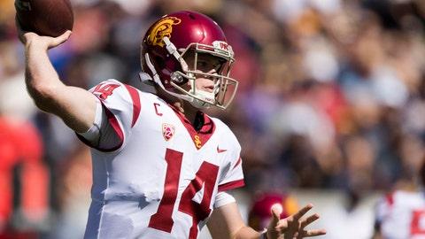 Sep 23, 2017; Berkeley, CA, USA; USC Trojans quarterback Sam Darnold (14) passes against the California Golden Bears in the second quarter at Memorial Stadium. Mandatory Credit: John Hefti-USA TODAY Sports