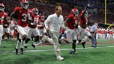 Sep 2, 2017; Atlanta, GA, USA;  Alabama Crimson Tide head coach Nick Saban leads his team on the field prior to facing the Florida State Seminoles in the 2017 Kickoff Game  at Mercedes-Benz Stadium. Mandatory Credit: Brett Davis-USA TODAY Sports