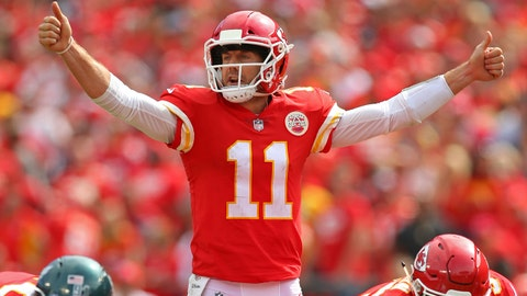 Sep 17, 2017; Kansas City, MO, USA; Kansas City Chiefs quarterback Alex Smith (11) signals to the offense in the second half of the game against the Philadelphia Eagles at Arrowhead Stadium. Mandatory Credit: Jay Biggerstaff-USA TODAY Sports