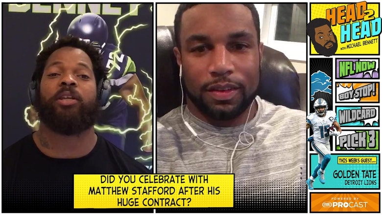How did Golden Tate and his Detroit Lions teammates celebrate Matt Stafford's record-breaking contract?