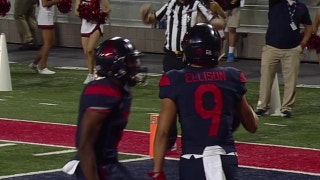 Arizona's Brandon Dawkins connects with Tony Ellison for a 30-yd touchdown pass