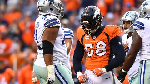 Sep 17, 2017; Denver, CO, USA; Denver Broncos outside linebacker Von Miller (58) reacts after his sack in the second half against the Dallas Cowboys at Sports Authority Field at Mile High. Mandatory Credit: Ron Chenoy-USA TODAY Sports