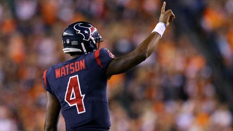 Sep 14, 2017; Cincinnati, OH, USA; Houston Texans quarterback Deshaun Watson (4) reacts against the Cincinnati Bengals in the second half at Paul Brown Stadium. Mandatory Credit: Aaron Doster-USA TODAY Sports