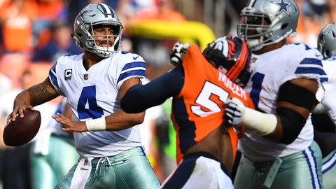 Sep 17, 2017; Denver, CO, USA; Dallas Cowboys quarterback Dak Prescott (4) prepares to deliver a pass in the second quarter against the Denver Broncos at Sports Authority Field at Mile High. Mandatory Credit: Ron Chenoy-USA TODAY Sports