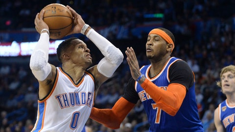 Feb 15, 2017; Oklahoma City, OK, USA; Oklahoma City Thunder guard Russell Westbrook (0) drives to the basket in front of New York Knicks forward Carmelo Anthony (7) during the fourth quarter at Chesapeake Energy Arena. Mandatory Credit: Mark D. Smith-USA TODAY Sports