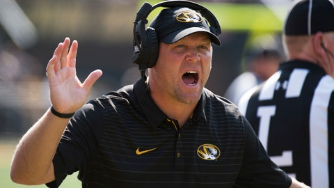 Missouri head coach Barry Odom argues a call during the first half of an NCAA college football game against Purdue Saturday, Sept. 16, 2017, in Columbia, Mo. Purdue won the game 35-3. (AP Photo/L.G. Patterson)