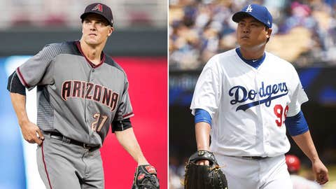 Today's starting pitchers: RHP Zack Greinke vs. LHP Hyun-Jin Ryu