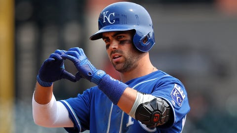 Kansas City Royals' Whit Merrifield reacts to hitting a single against the Detroit Tigers in the third inning of a baseball game in Detroit, Monday, Sept. 4, 2017. (AP Photo/Paul Sancya)