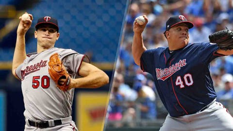 Aaron Slegers and Bartolo Colon, Twins pitchers (↓ DOWN)