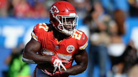 Sep 24, 2017; Carson, CA, USA; Kansas City Chiefs running back Kareem Hunt (27) runs with the ball during the second half against the Los Angeles Chargers at StubHub Center. Mandatory Credit: Orlando Ramirez-USA TODAY Sports
