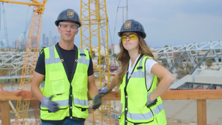 Stu Holden and Rachel Bonnetta help build LAFC's new home ... sort of