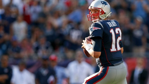 Sep 24, 2017; Foxborough, MA, USA;  New England Patriots quarterback Tom Brady (12) drops back to make a pass during the second half against the Houston Texans at Gillette Stadium. Mandatory Credit: Greg M. Cooper-USA TODAY Sports
