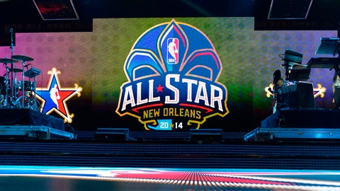 Feb 16, 2014; New Orleans, LA, USA; A general view of the stage and NBA All-Star logo before the 2014 NBA All-Star Game at the Smoothie King Center. Mandatory Credit: Bob Donnan-USA TODAY Sports
