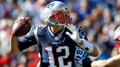 Oct 1, 2017; Foxborough, MA, USA; New England Patriots quarterback Tom Brady (12)  passes the ball during the first quarter against the Carolina Panthers at Gillette Stadium. Mandatory Credit: Stew Milne-USA TODAY Sports