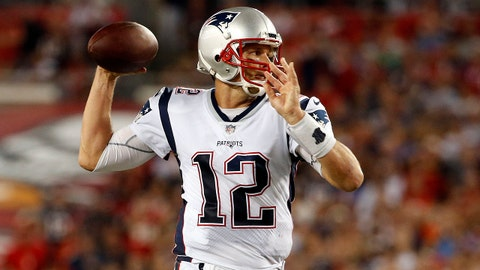 Oct 5, 2017; Tampa, FL, USA; New England Patriots quarterback Tom Brady (12) throws the ball against the Tampa Bay Buccaneers during the first half at Raymond James Stadium. Mandatory Credit: Kim Klement-USA TODAY Sports