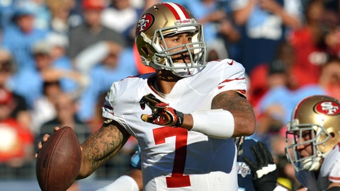 Oct 20, 2013; Nashville, TN, USA; San Francisco 49ers quarterback Colin Kaepernick (7) passes against the Tennessee Titans during the first half at LP Field. The 49ers beat the Titans 31-17. Mandatory Credit: Don McPeak-USA TODAY Sports
